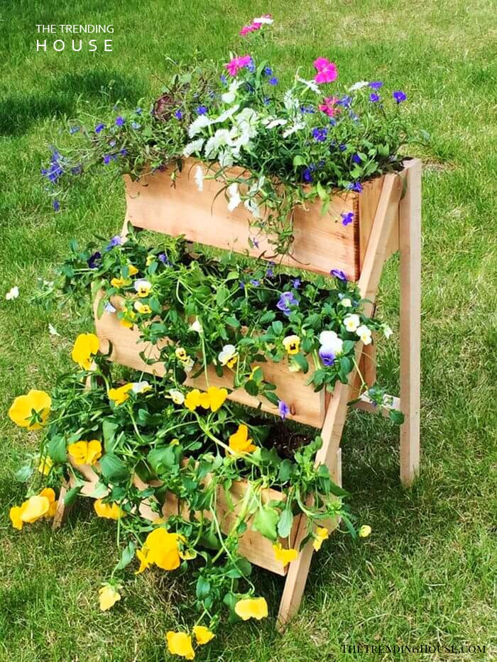 Step-Stool Wooden Planter Boxes