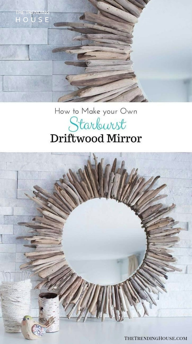 Sunburst Mirror with Reclaimed Driftwood
