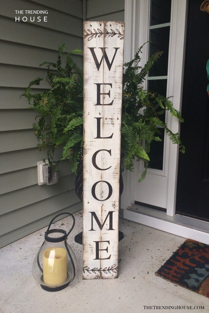 Tall Wooden Entryway Welcome Sign