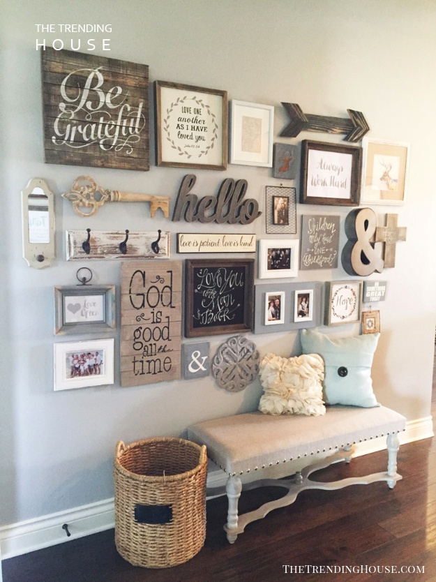 A Wall Full of Rustic DIY Decor