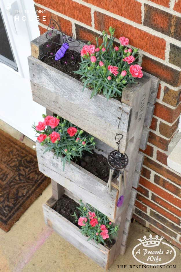 Three Level Planter Made with a Pallet