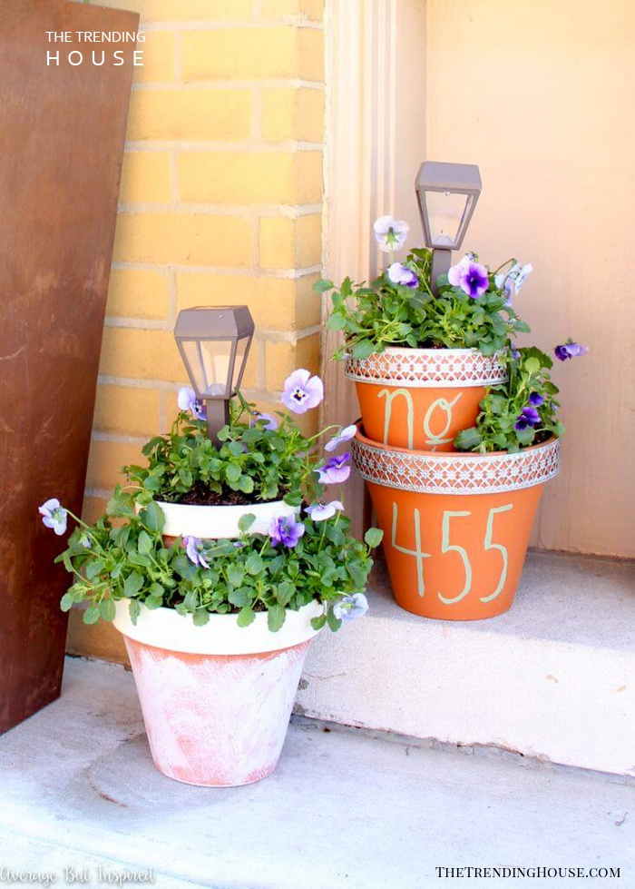 Tiered Planters Featuring Solar Light