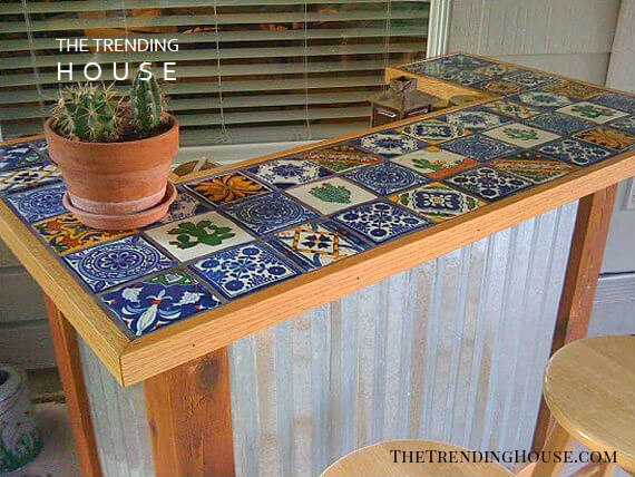 Tile Toped Bar with a Midwestern Feel
