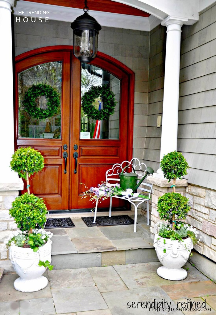 Topiary Trees in Small Footed Planters