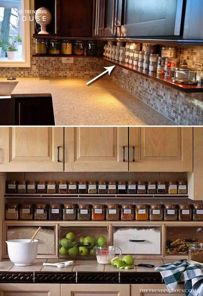 Under Counter Spice Jar Shelf
