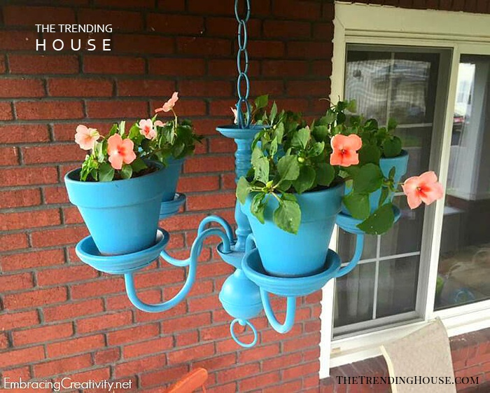 Upcycled Chandelier Flower Pot Decoration