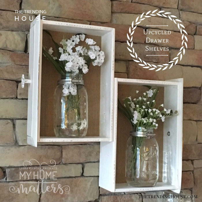 Upcycled Drawer Mason Jar Flower Wall Decor
