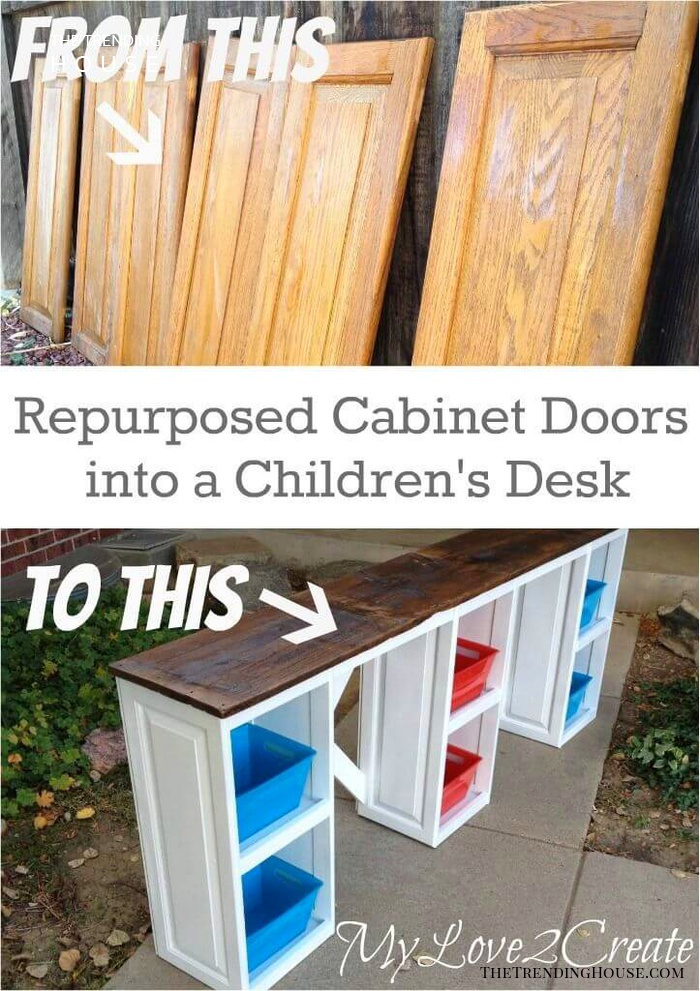Upcycled Kids' Storage Cubbies and Workspace