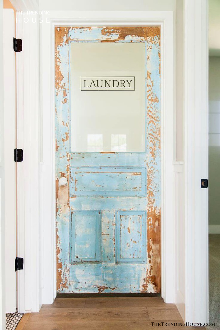 Vintage Laundry Room Door with Decal