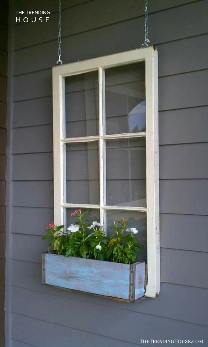 Vintage Window Frame Flower Box