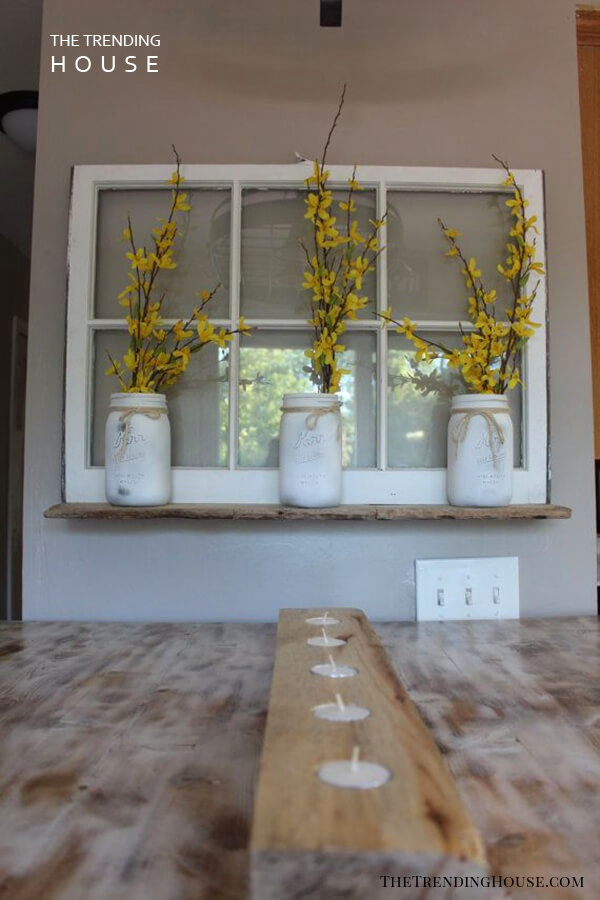 Vintage Window Whitewashed Mason Jar Wall Decor