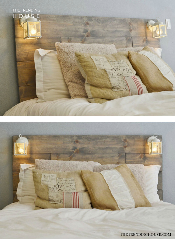 Wall Mounted Headboard with Attached Lamps