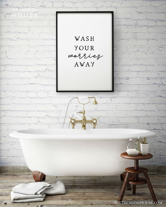 Wash Your Worries Away Wall Sign