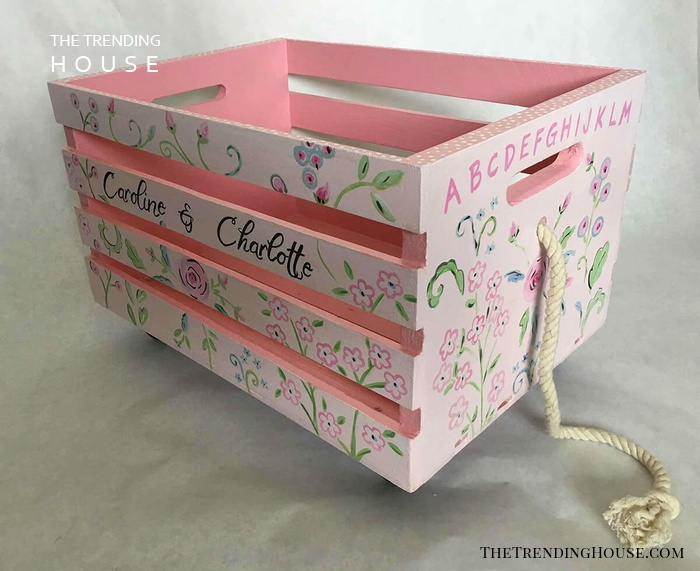 Wheeled Wooden Crate Toy Box