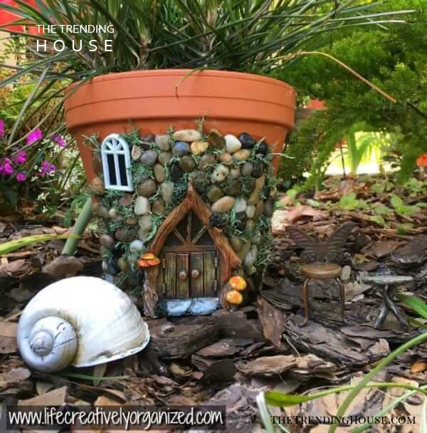 Whimsical Fairytale Garden Planter Home with Stones