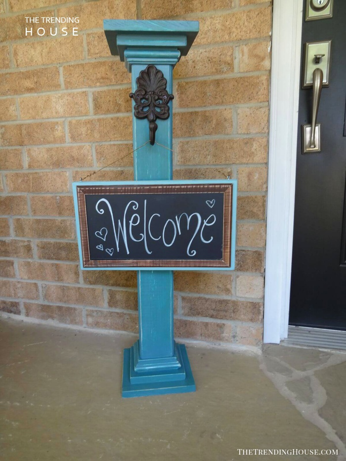 Whimsical Post and Chalkboard Welcome Sign