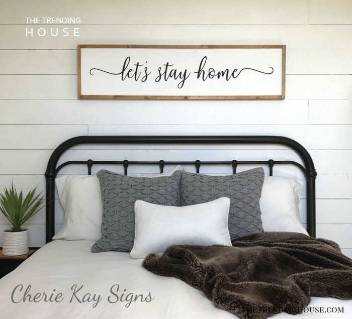 White 'Let's Stay Home' Painting