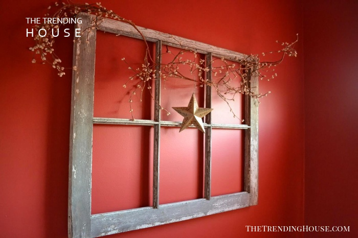 Window Frame with Dried Berry Branch
