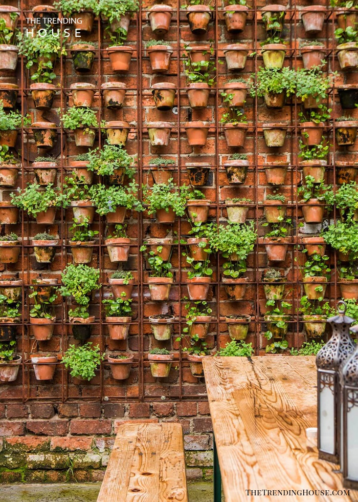 Wire Frame with Dozens of Terra Cotta Pots