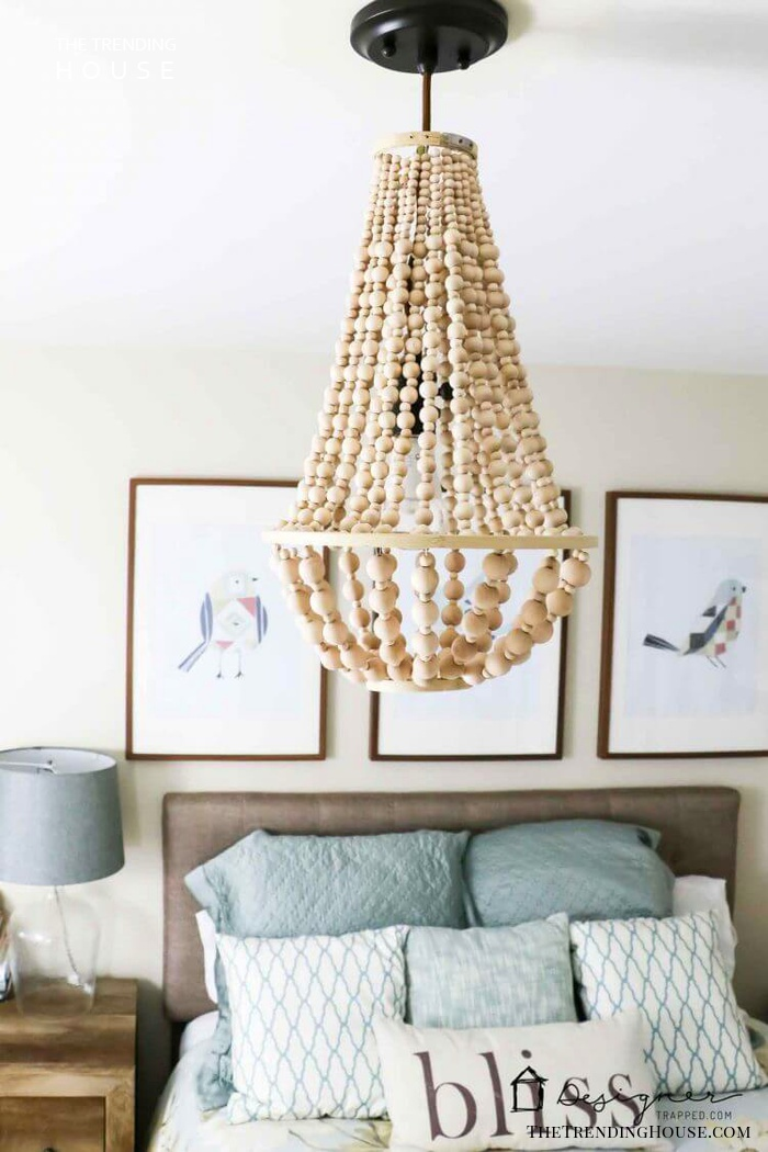 Wonderful Wooded Bobbles Chandelier Lampshade