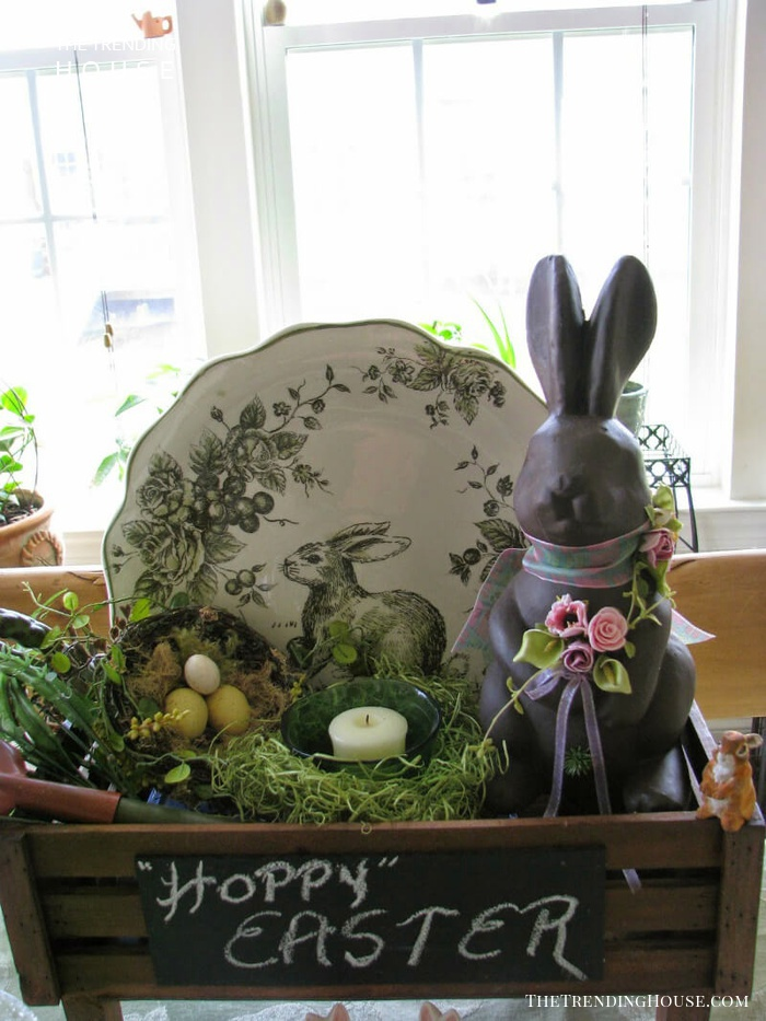 Wooden Crate with Easter Antiques