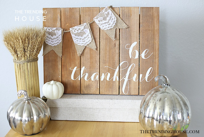 Wooden Sideboard with Lace and Burlap Embellishments