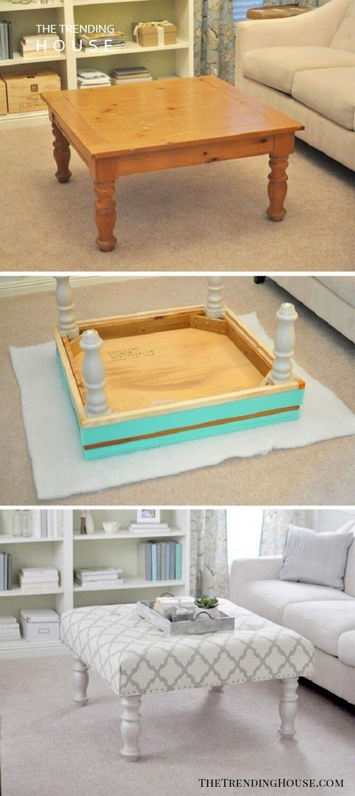 Wooden Upholstered Settee Table