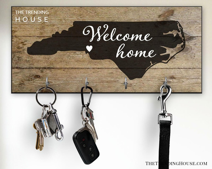 Your State Highlighted on Farmhouse Key Rack