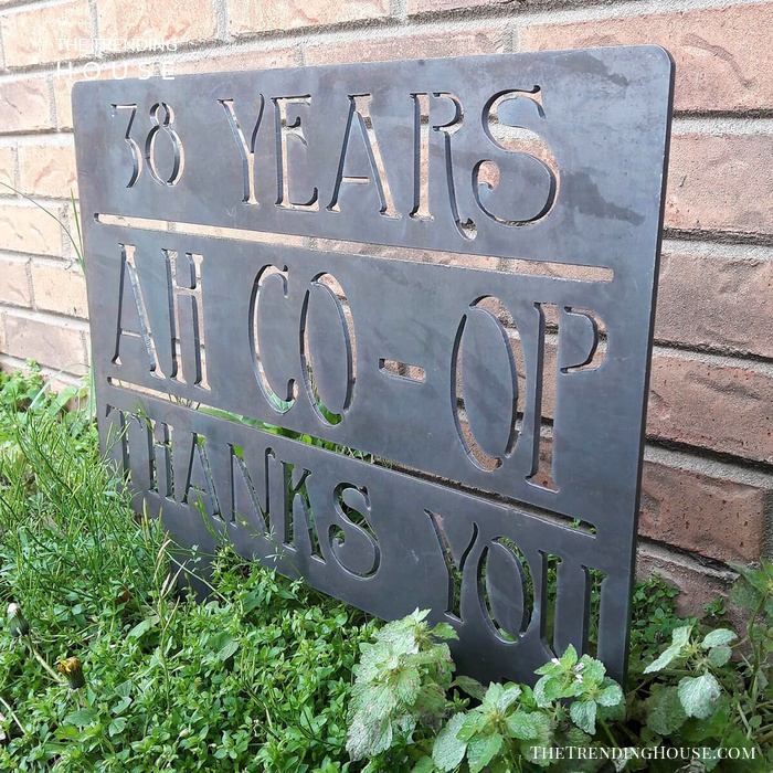 """38 Years Ah Co-Op Thanks You"" Garden Sign"